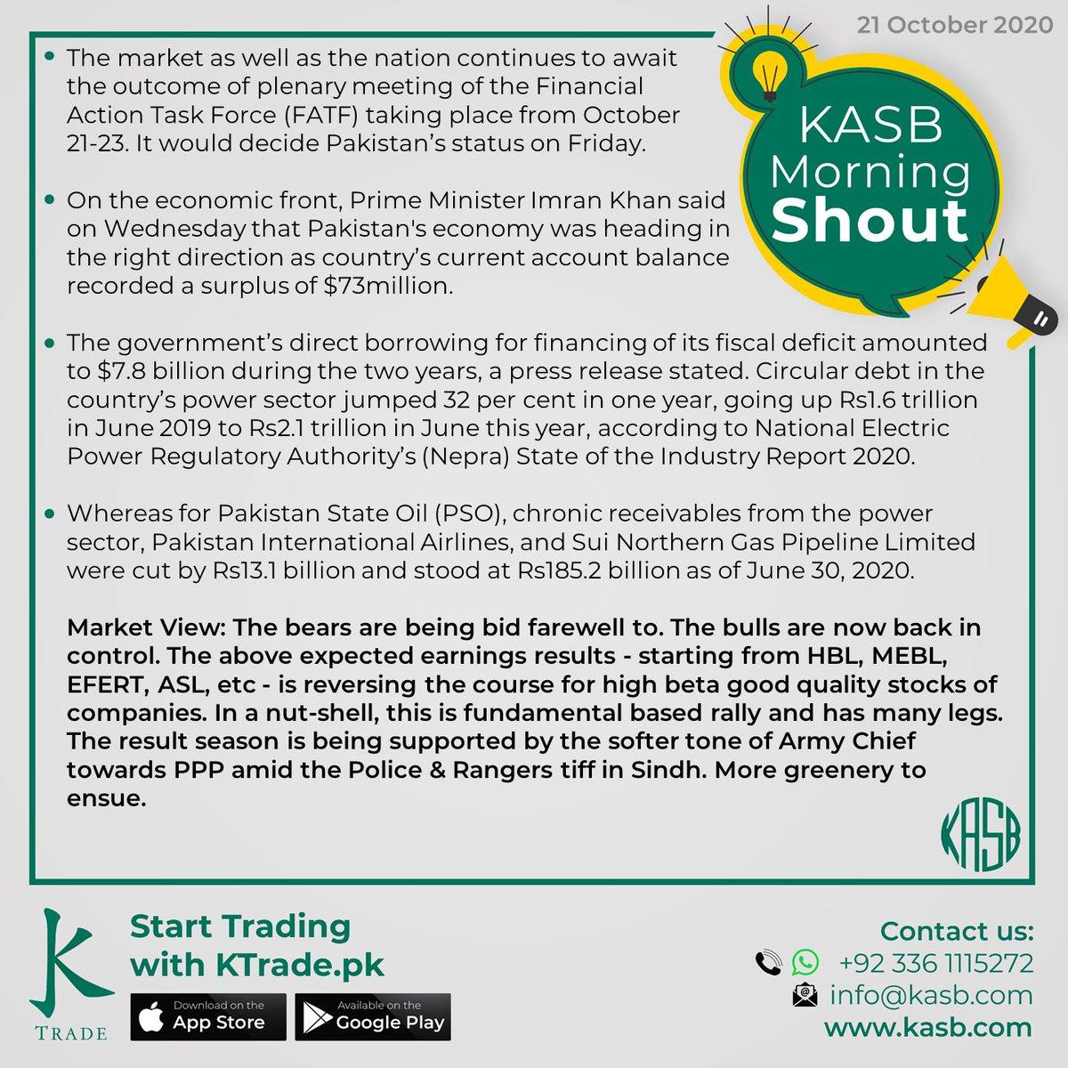 KASB Morning Shout: Our views on today's news #kasb #smartinvesting #psx #stockmarket #KTrade #onlinetrading #pakistaneconomy #imrankhan #sbp #inflation #kse100 #brokeragehouse #psxstocks #marketupdate #emergingmarkets #frontiermarkets #news #morning #today #views https://t.co/EOpHVYbOsL