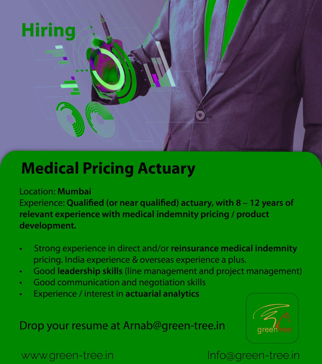 #WeareHiring Medical Pricing Actuary  #Comment Interested  Follow #Greentree for daily job updates! #actuaryjobs #lifeactuarial #riskmanagement #actuarialjobs #actuarialscience #actuariat #capitalmodeling #valuation #insuranceclaim #bankingandfinance #dataanalytics #spss https://t.co/kVYwvSCWBT