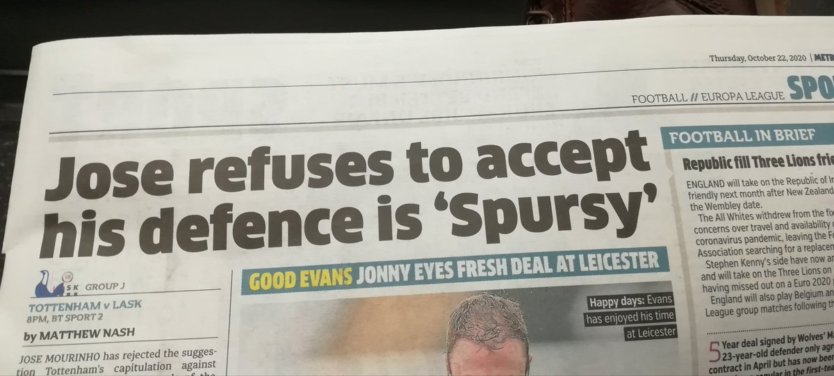 This mornings headline in @MetroUK @metrosportHQ made me laugh as I sat down on the tube #TOTWHU #Spursy 😆 #COYI⚒️ https://t.co/TlT606AXY3