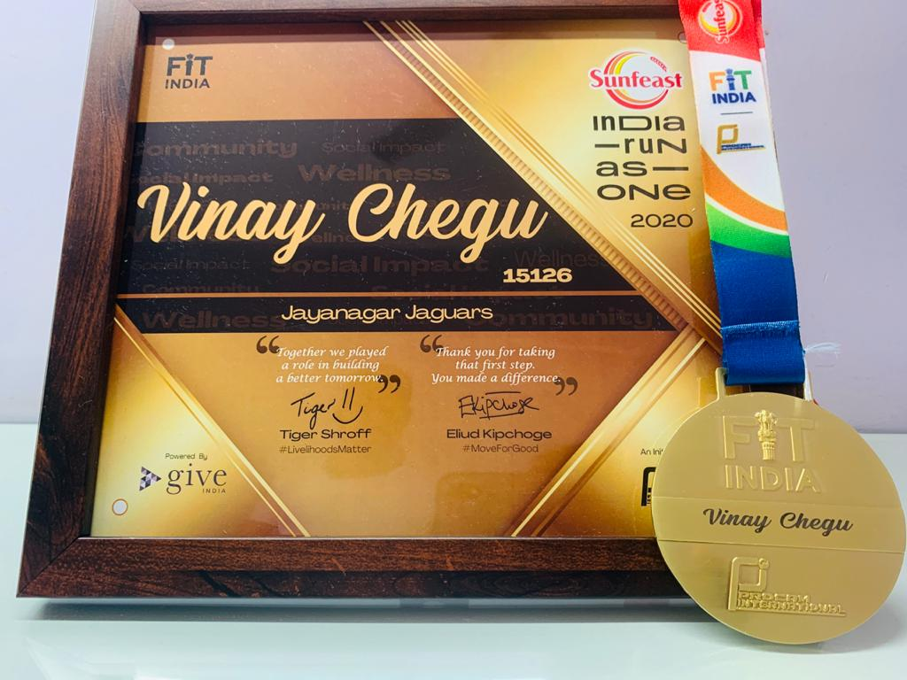 Personalised Gold Medal, with nicely framed certificate. A perfect appreciation of 180km I contributed towards a great cause #SunfeastIndiaRunAsOne India run as one Thanks  @procamintl  for such nice gesture @Indiarunasone  for a meaningful cause #fitindia #jjsrunning @jjsrunning