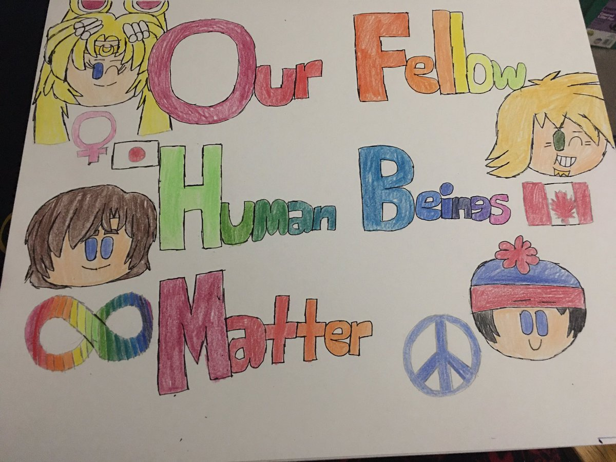 #FanArt #Remake: Fanmade poster of #OurFellowHumanBeingsMatter, featuring Usagi Tsukino/Sailor Moon(#SailorMoon), Dr. Shaun Murphy(#TheGoodDoctor), Owen(#TotalDrama), and Stan Marsh(#SouthPark). 😊❤️🧡💛💚💙💜 https://t.co/UL4iPTLkmp