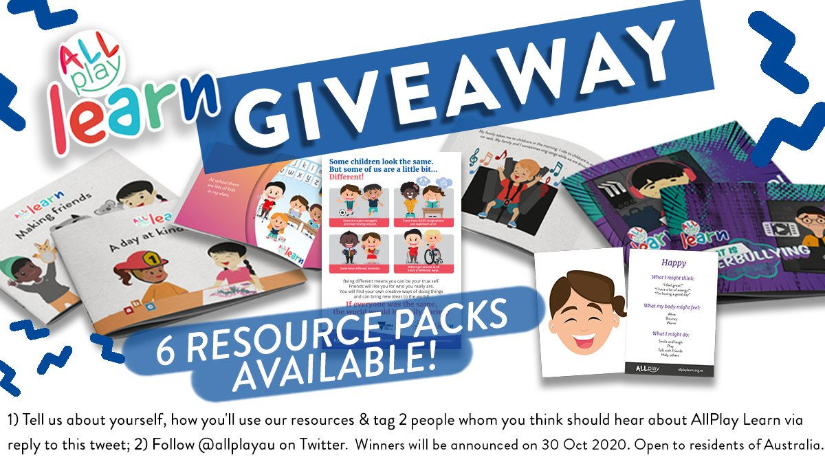 [GIVEAWAY] ❤️ AllPlay Learn's inclusion resources? Educators and teachers, 1) comment & tag 2 colleagues, 2) follow @allplayau, and you can win our printed Resource Packs! It's our way of saying thank you on #worldteachersday2020. #wtd2020 @DETVic @aitsl https://t.co/nVFsgWKoIv
