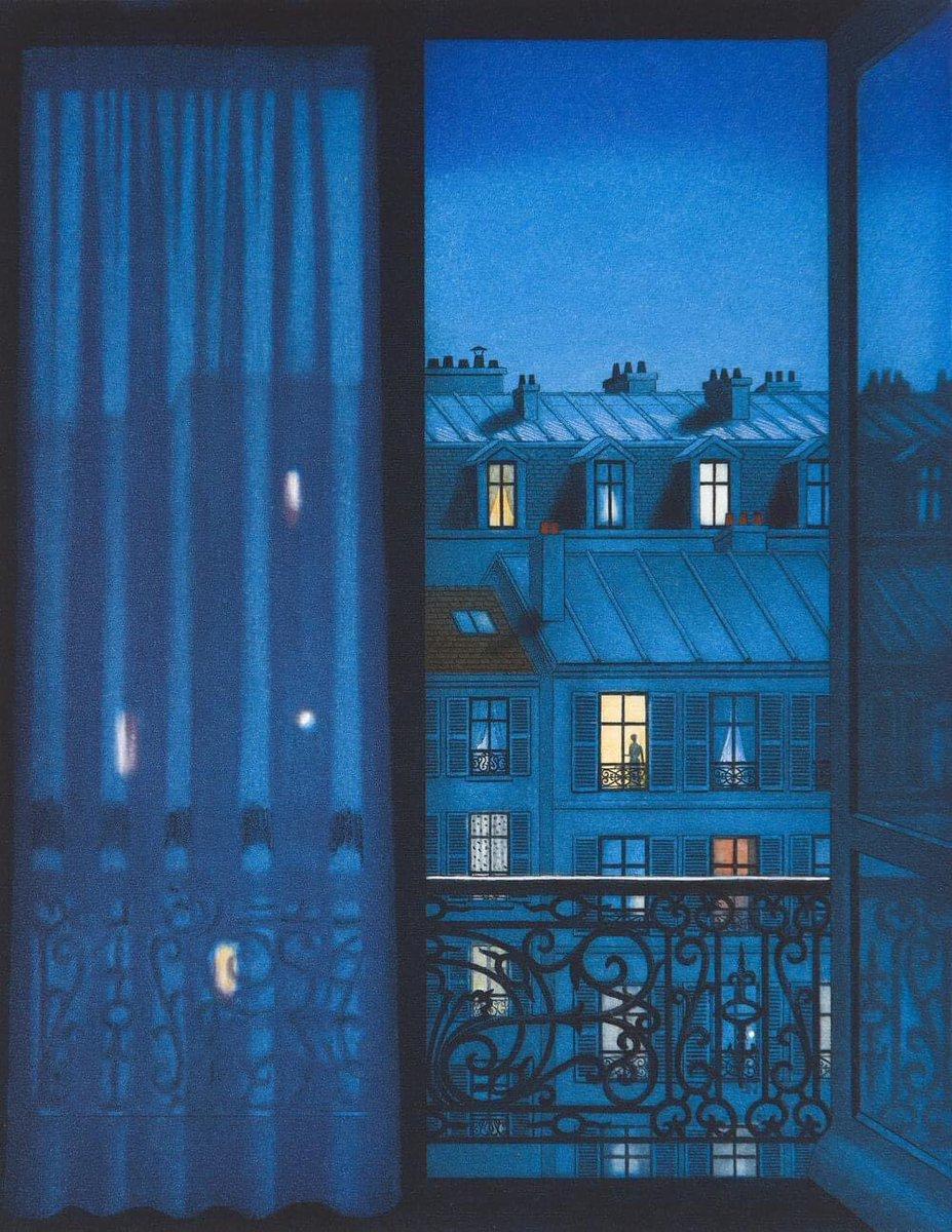Lynn Shaler (American, born 1955)  A Parisian Night  #lynnshaler #aparisiannight #paris #france #artinfinitus #balcony #window #light #blue #night  #artist #art #artwork #arthistory #artgallery #arte #kunst  #impressionism #creative #inspiration #museum #modernism #portrait https://t.co/cBPSplNcrW