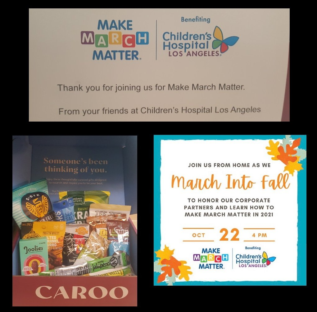 Thank you @MakeMarchMatter @ChildrensLA I look forward to being part of #MarchIntoFall while snacking on my Caroo snack box! #childrensLA #childrenshospitallosangeles #MakeMarchMatter #givingsgood #bethechange #makeadifference #payitforward #besomebody #positivevibes #beInspired