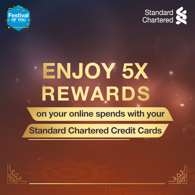 Bring in the joys this festive season and celebrate the #FestivalOfYou. Enjoy 5x reward points on all online spends with your Standard Chartered credit cards. Offer valid from 16 Oct - 22 Oct 2020.   To know more,  #FestiveSeason #StandardChartered