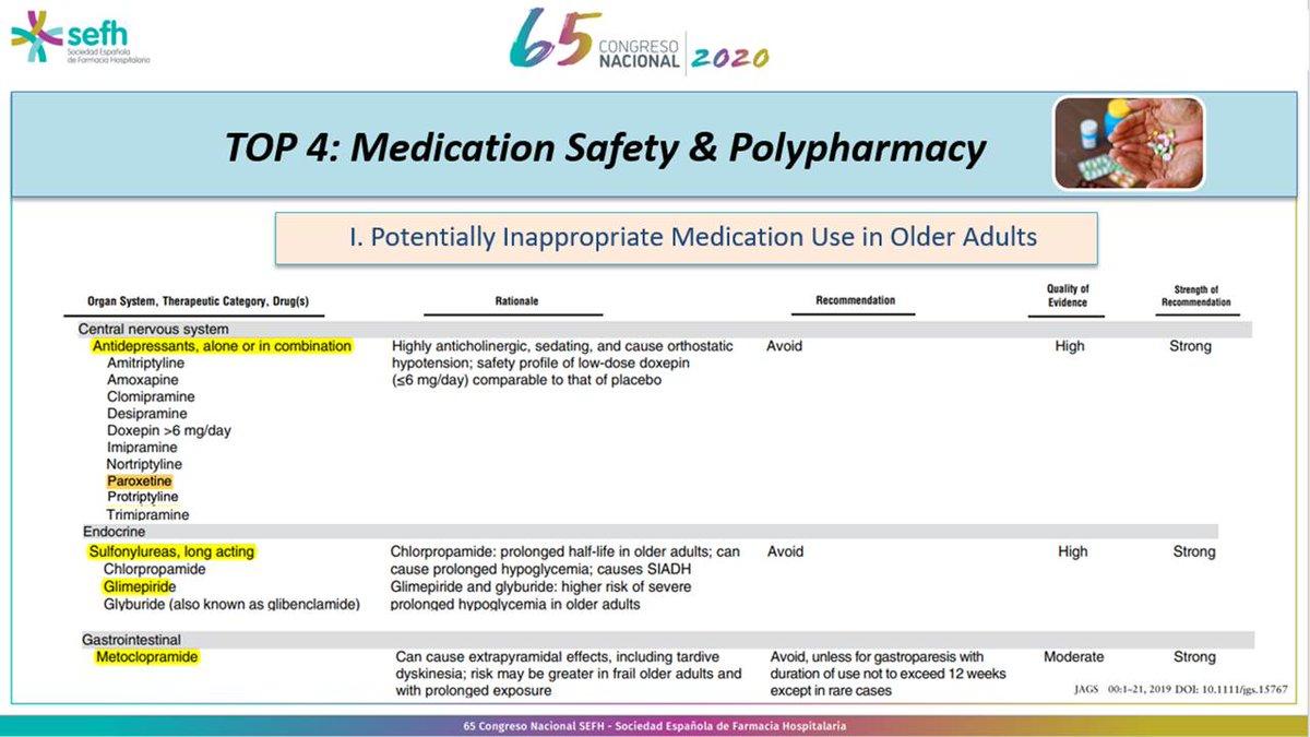 Última actualización 2019 de criterios Beers. ¿Son todos los ISRS adecuados en pacientes geriátricos? Evitar paroxetina por efecto anticolinergico, sedación e hipotensión ortostática  @javigbueno #Top10 #sefh2020 https://t.co/SzjafHtoZr