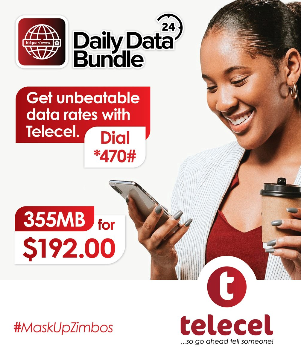 Enjoy unbeatable Data rates with Telecel!Get your Telecel Data bundles today by simply dialing *470#.T&C's apply. #teleceldatabundles #tellsomeone https://t.co/UX9Zgf5PWb