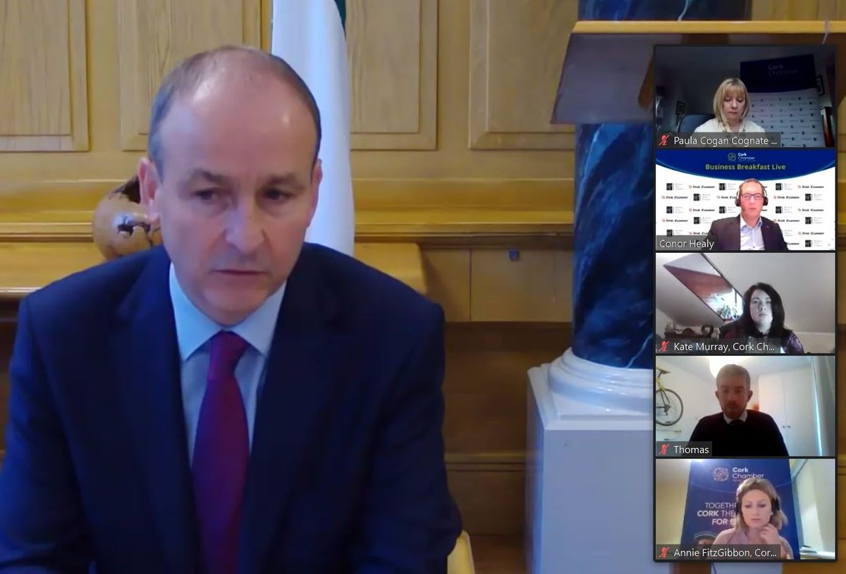 The Q&A between An Taoiseach @MichealMartinTD and Conor Healy at our Business Breakfast digs deep on Cork's infrastructure, Covid testing/tracing, @CorkAirport, flood defences, CMATS, review of NDP & SDGs. A rich and broad discussion. Sponsor @RonanDalyJermyn Media @irishexaminer https://t.co/8tmklGZpRm