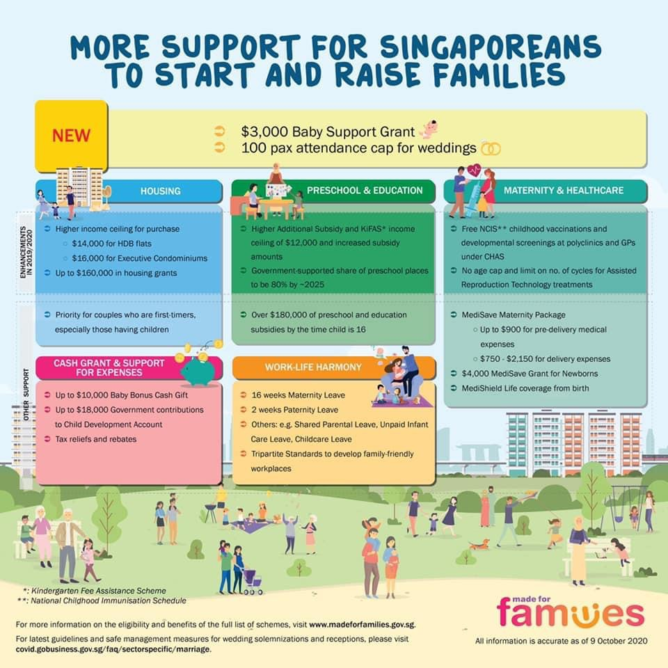 DPM Heng Swee Keat announced on 5 Oct that the Government will be providing additional support for aspiring parents. The one-off Baby Bonus Grant will be given to married parents with Singaporean children born from 1 Oct 2020 to 30 Sep 2022. https://t.co/X1pQELkmb4 https://t.co/xVe4Fzm4H8