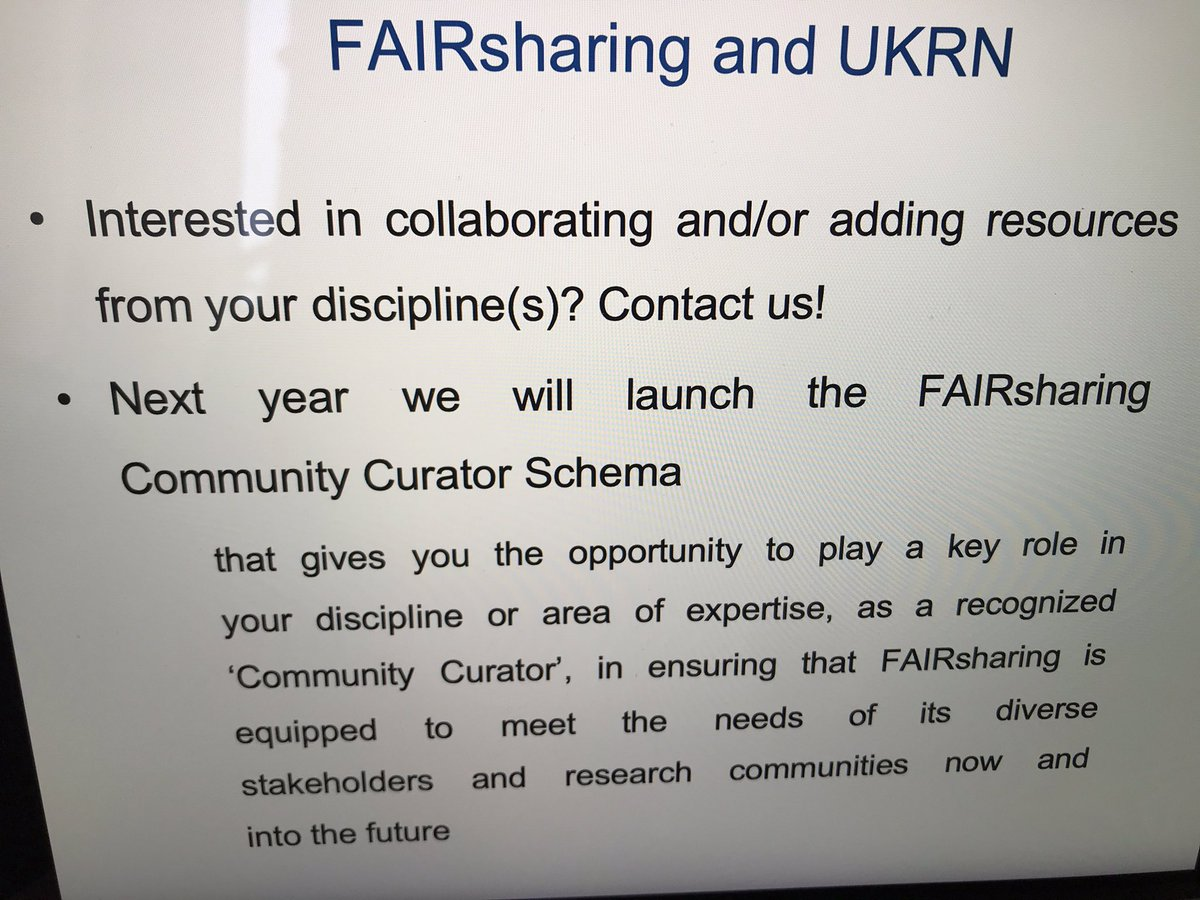 As presented, if you are interested in collaborating or in the #FAIRsharing Community Curator Schema (to be launched next year) contact us @FAIRsharing_org #DatatoMetadata @ukrepro #FAIRdata https://t.co/Zoc6TrJf28 https://t.co/LLwNiSQAC6