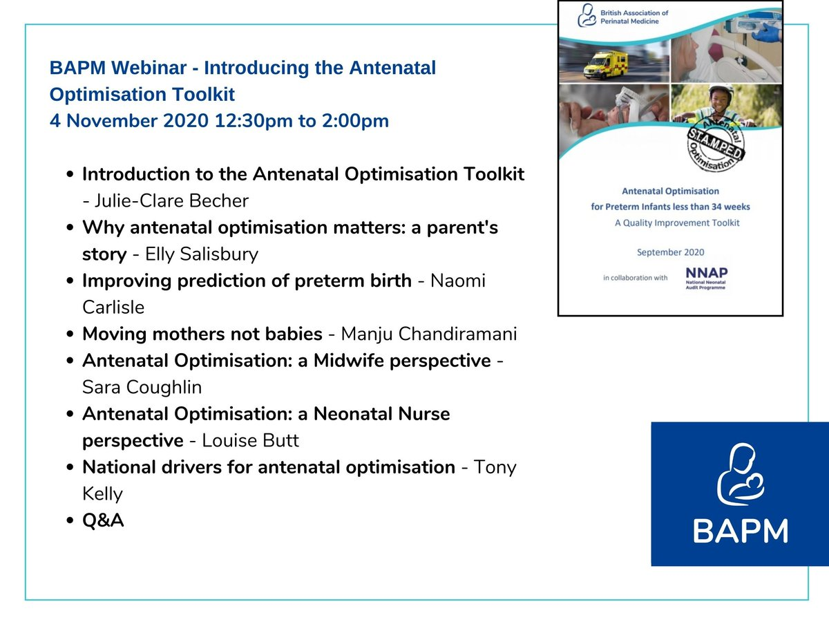 Booking now open on our next webinar on the new #AOtoolkit. We'll be talking all things antenatal optimisation to help you get started on your QI journey. 12:30, 4th Nov. Free to attend.  Book your ticket here: https://t.co/1GzmB3nKjO  @JulieCBecher @MatNeoSIP @NNAP_RCPCH https://t.co/7PINfLwVlX