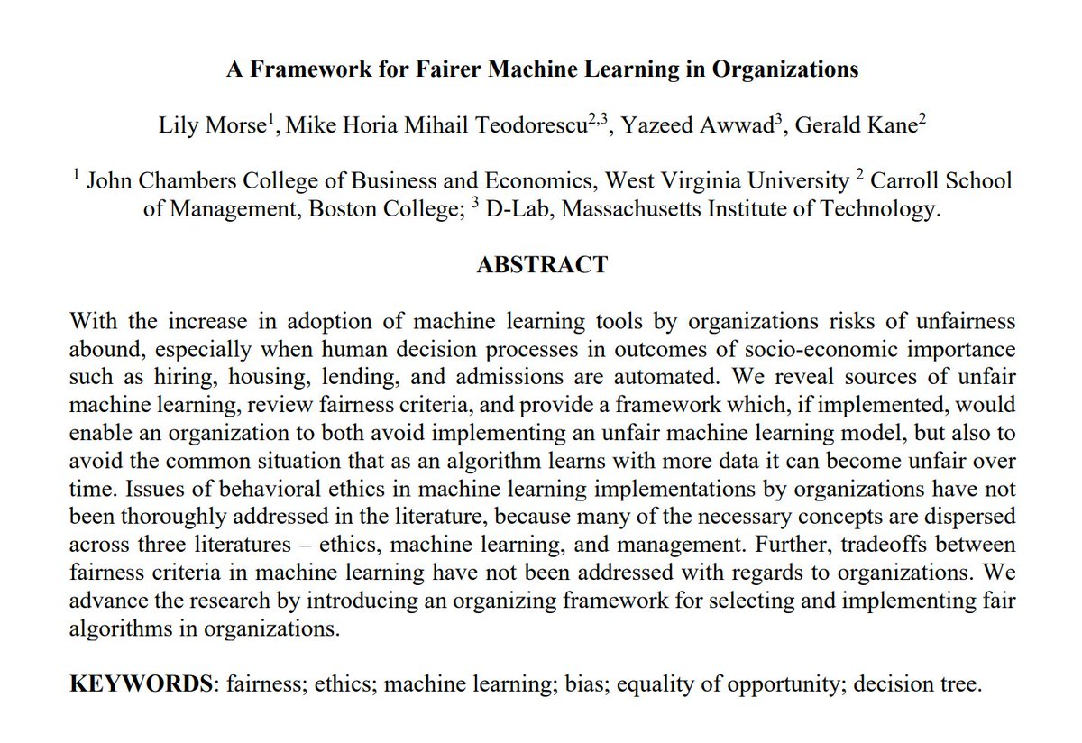 """[#FridayWiMLDSPaper 📜 curated by @MrsCaroline_C]  """"A Framework for Fairer Machine Learning in Organizations"""" by Lily Morse, @miketeod, Yazeed Awwad, Gerald Kane   🔗  #WiMLDSParis #WiMLDS #Ethics #MachineLearning #Bias"""