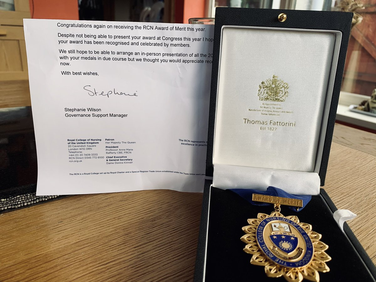 Received the humbling @theRCN Royal College of Nursing Award of Merit this morning. That feeling of pride and privilege plus feeling recognised and celebrated by members has given me a welcome boost this morning. Thank you RCN members who nominated me. Truly honoured. @RCN_NI