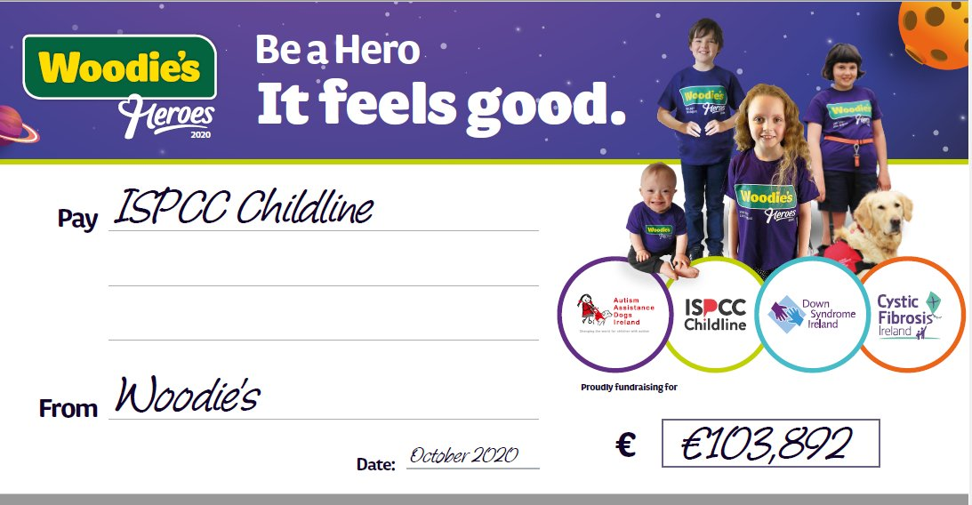 We at @ISPCCChildline would like to extend a massive thank you to @WoodiesIreland staff and customers for your phenomenal support in raising over €100,000 for Childline through this year's Woodie's Heroes campaign! Thank you for making sure Childline is here for every child. https://t.co/KfJoXrVGYe