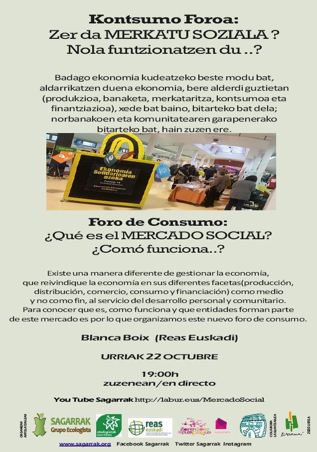 Esta tarde, a las 19:00h, de la mano de Blanca Boix de @REASEuskadi: ¿Qué es el #MercadoSocial y cómo funciona?  En directo en el canal de YouTube Sagarrak  https://t.co/SLLtv54beq. Enlace para las preguntas: https://t.co/u0n3Bx0Jvd No te lo pierdas! https://t.co/O8dnkFKHdL