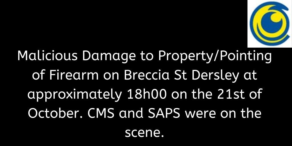 Crimebroadcast 2020-10-22 #CommunityRules #Safety  #proudlycms #Patrolling #Precincts #Ekurhuleni #Reaction #Closures https://t.co/CUr7p2F96V https://t.co/w8MoiSnq10