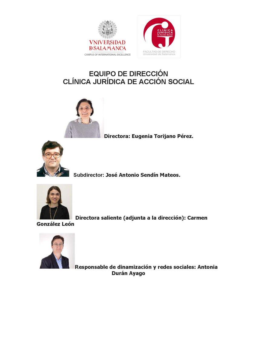Os presentamos el nuevo equipo de dirección de la Clínica Jurídica de Acción Social.  Seguimos haciendo el camino. @FacDerechoUsal @usal @redCjuridicas https://t.co/SAmr8slYZv