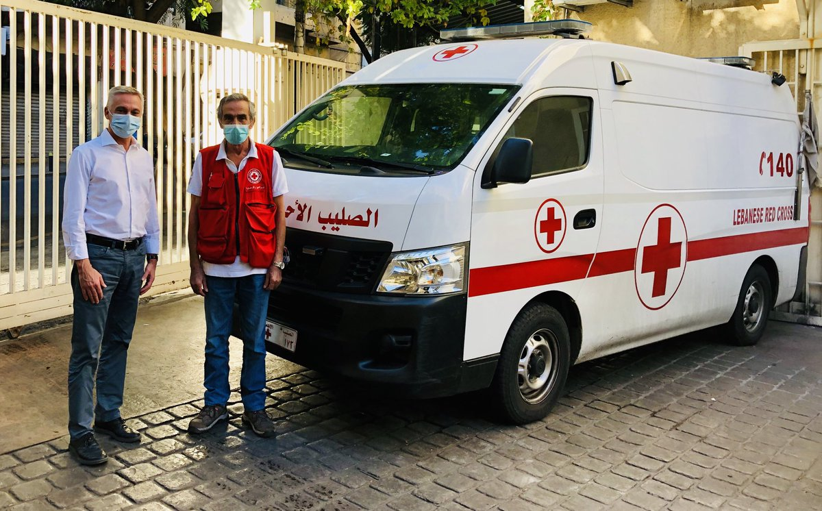 Met Elie Abdelnour @RedCrossLebanon. Impressed by such a life time dedication, Elie having started his career @ the Red Cross in 1973. Standing next to an ambulance as the incarnation of 1 of the most relevant activities of the National Society @ICRC_lb supports