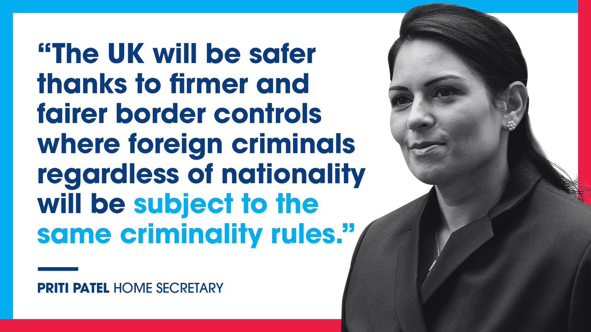 Under changes laid in Parliament today, EU citizens coming to our country will be subject to the same firm and fair criminality rules that apply to non-EU citizens. We are taking back control of our borders.