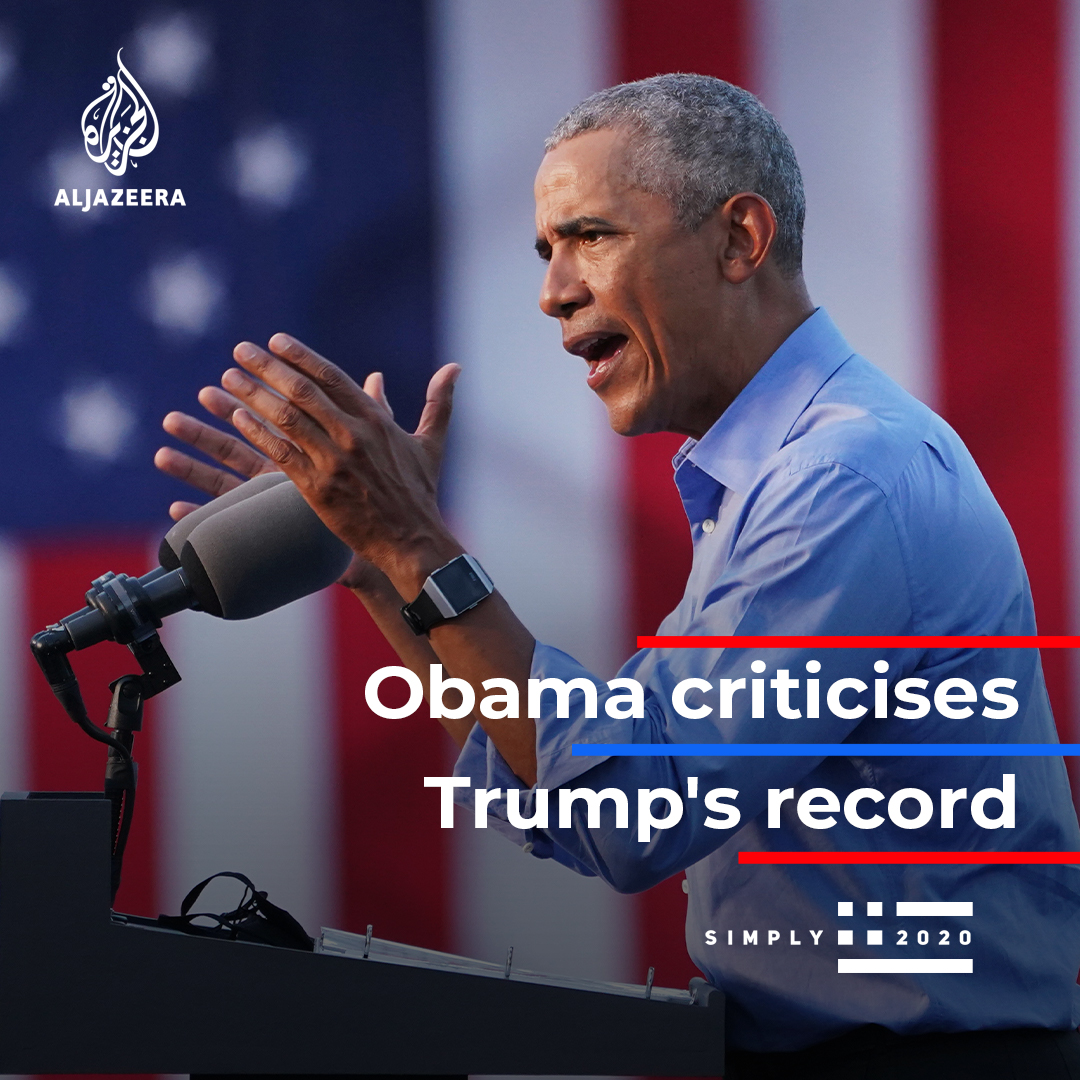 Barack Obama delivered a fiery rebuke of Donald Trump in his return to the campaign trail for Democratic nominee Joe Biden | #Election2020