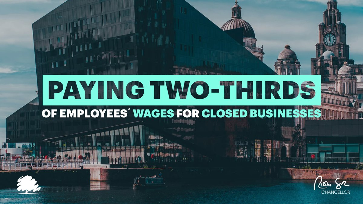 In businesses legally required to close, as I've already announced, employers will pay people two thirds of their normal salary where they can't work for a week or more; and the government will cover 100% of those costs. https://t.co/gk1b7f9Muu