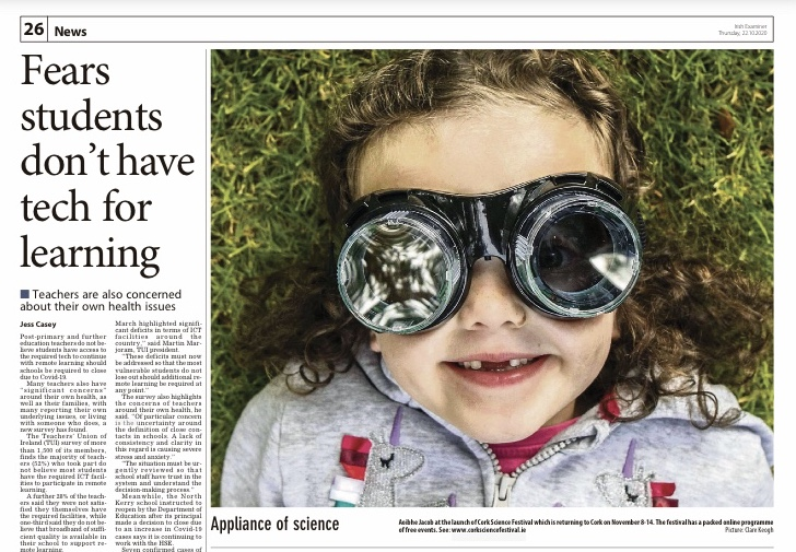 Delighted to feature in today's @irishexaminer   @CorkScience 8th-15th November. https://t.co/nzltdRRbek
