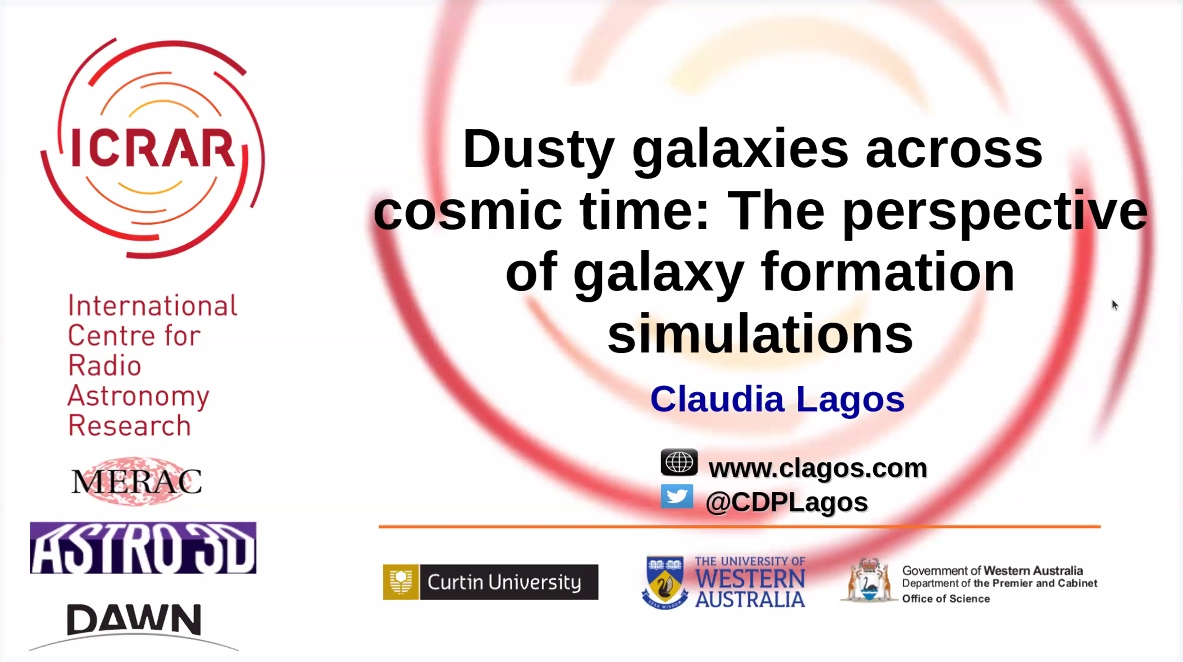 Today's speaker in our @ArmaghPlanet #Astrophysics Research Seminar is Claudia Lagos (@CDPLagos) from @ICRAR in Western Australia, enlightening us about dusty galaxies. #sciencefromhome #scienceunlocked https://t.co/cvvQYgD9OY