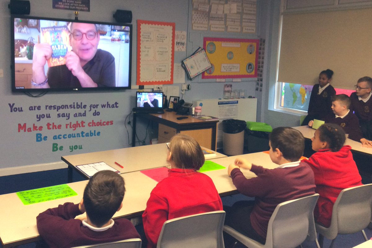 Dreams came true today in Year Six! We had the opportunity to have a virtual talk with the amazing author  @spirotta What an inspiration! We are in awe of your writing and cannot wait for your next book. #happy #inspired @Vision_M_A_T @BloomsburyEd https://t.co/ssaOd6uNxA