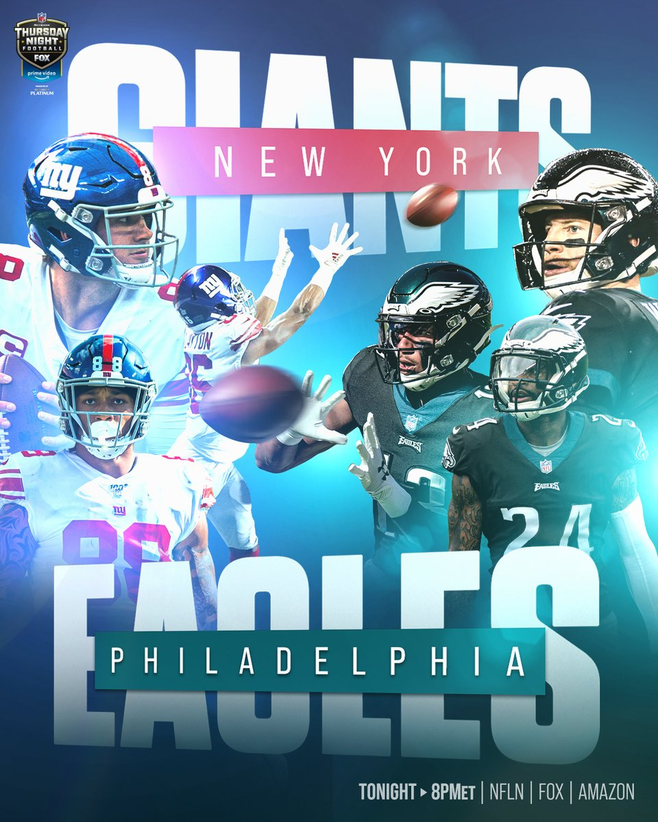 Tonight on Thursday Night Football: @Giants vs. @Eagles! #TogetherBlue #FlyEaglesFly ⁣ 📺: #NYGvsPHI – 8pm ET on NFLN/FOX/PRIME VIDEO⁣⁣ 📱: https://t.co/W5bCPYgMfo https://t.co/w0y8t5RyKX