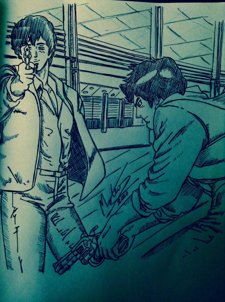"""City Hunter 10oct 2020"". #Dibujo dedicado a #CityHunter concretamente a Ryo Saeba, en un lugar de Tokyo. #draw #mangablock #ink #ballpen #Bic #handdrawing #manga #mangaart #RyoSaeba #inktober #tokyo https://t.co/7w8NJ9aU09"