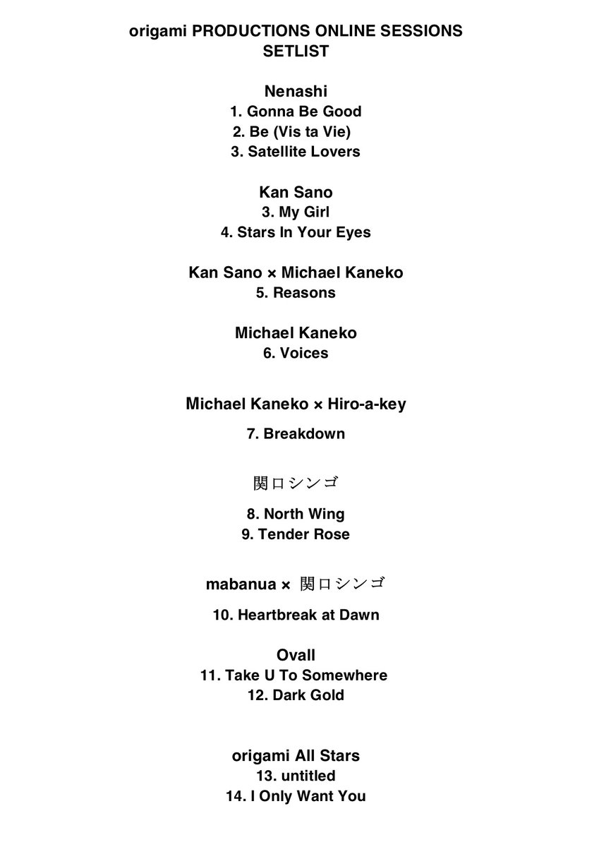 origami PRODUCTIONS ONLINE SESSIONS ~LIVE LOVERS~ from Billboard Live supported by CASIOご視聴ありがとうございました👏💞🔸SETLIST PLAYLIST(未配信楽曲は入っていません🙏)📺アーカイブは今週日曜日まで👀