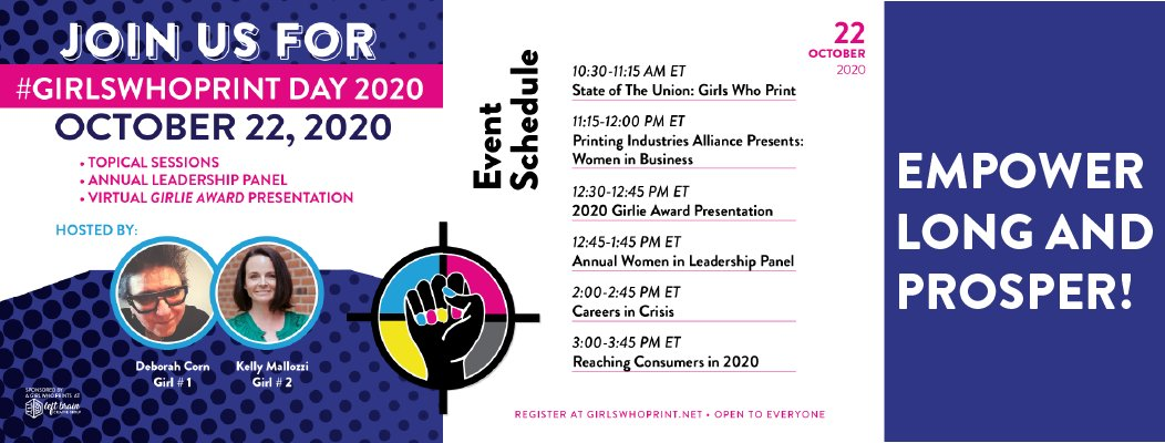 Happy #GirlsWhoPrint Day!!! Women's role in print is significant, ongoing and too often overlooked. The Girls Who Print event raises the awareness of everyone who uses #print that many people of every gender, color and background make print possible.