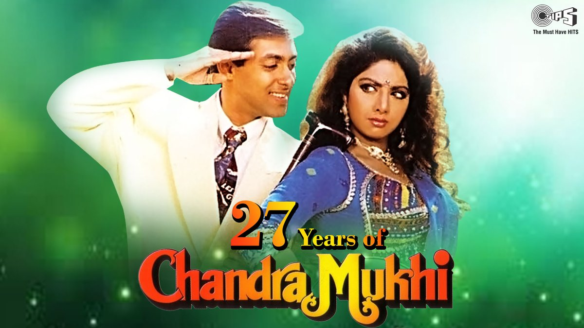 Celebrating 27 years of the fairy-tale story of #ChandraMukhi, starring @BeingSalmanKhan & Sridevi!   Enjoy listening to Anand-Milind's soulful music from the film here:  #27YearsOfChandraMukhi #SalmanKhan