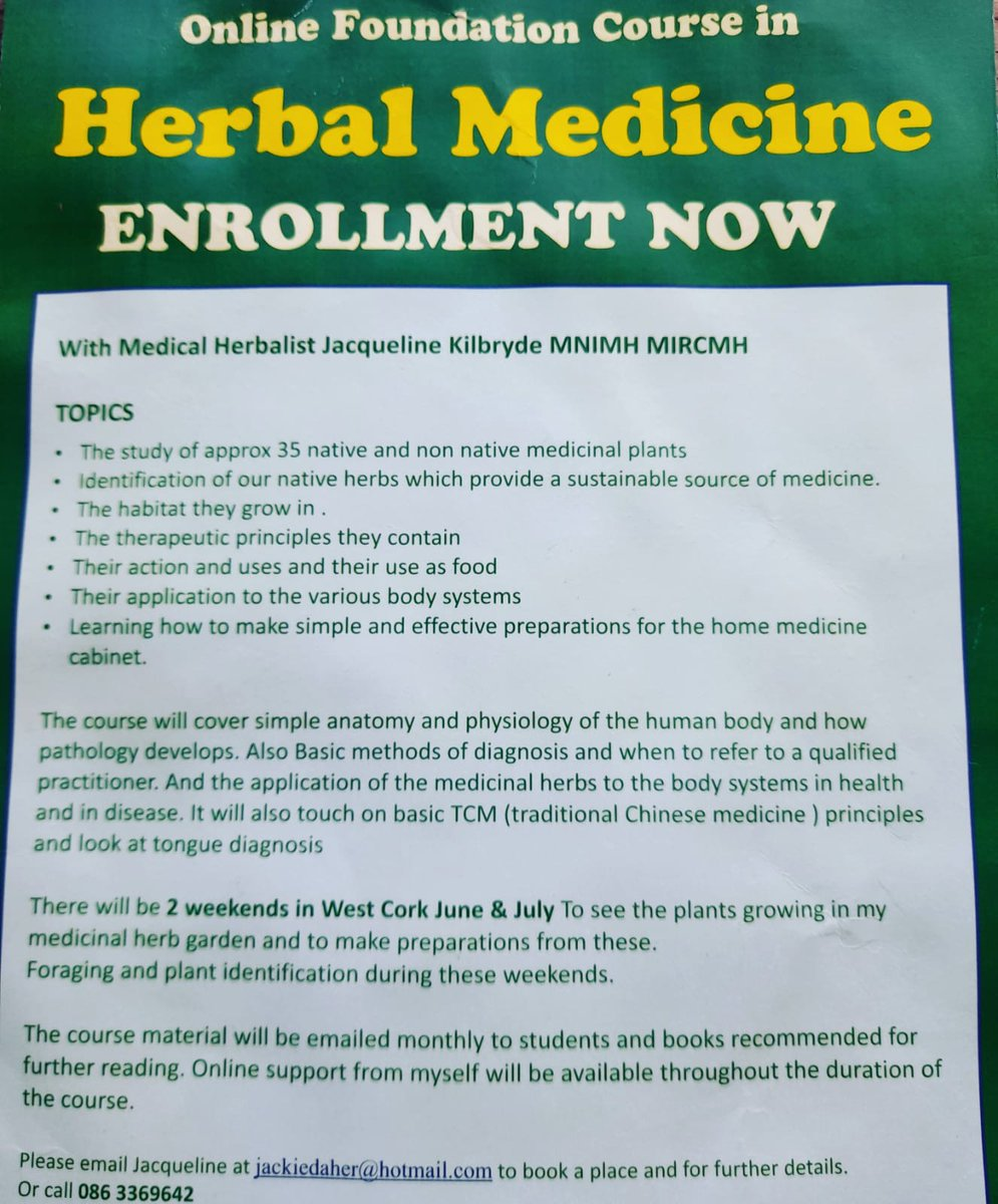 Interested in learning about Herbal Medicine?  Jacqueline Kilbryde of the Medicinal Herb Garden is taking enrolments now for her Online Foundation Course in Herbal Medicine.  Email jackiedaher@hotmail.com or call 086 – 336 9642.  @Corkcoco  @pure_cork  #purecorkwelcomes https://t.co/P7nrStqmRe