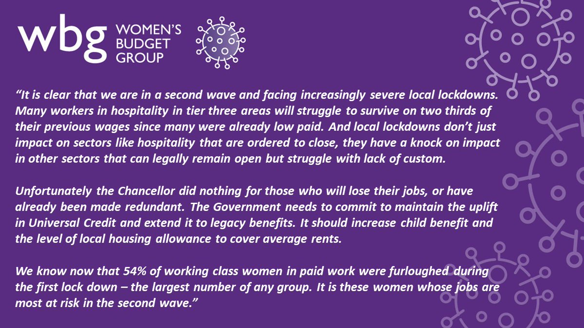 A powerful statement from @WomensBudgetGrp in response to the #EconomicStatement. It's clear that much more can and and should be done to support people on low-incomes through this crisis and beyond it, particularly women (and especially single parents) who have been hardest hit.