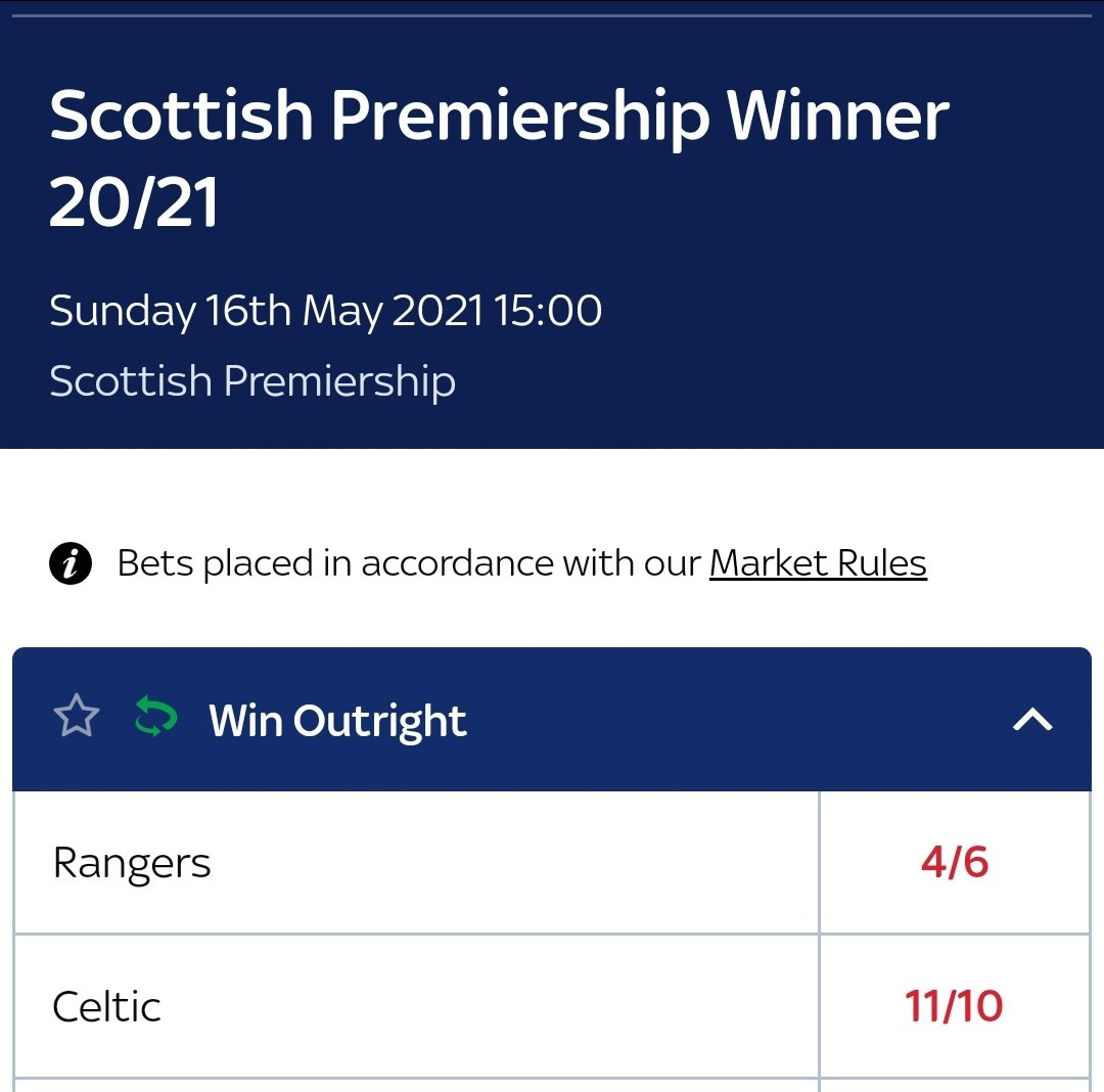 @TheGersReport @Alan_Morrison67 @RangersFC 🤣 In UK Betting Markets there'll  be more money backed on Rangers than Celtic those odds below will reflect that, 6/4  vs 11/10 is not a 16 point margin! Celtic cracking value at 11/10 https://t.co/5H0sY02lVR