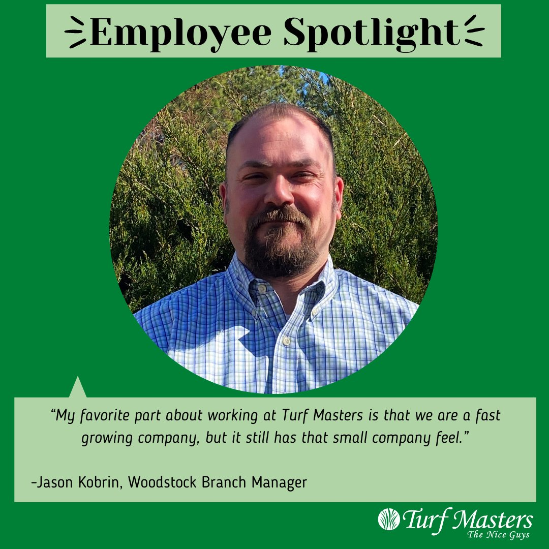 Jason K., our Woodstock Branch Manager, originally got into the lawn care industry due to his love for the sales field. The best part of working at Turf Masters for Jason is the comradery of the company. #turfmasterslawncare #theniceguys #ourteam #weloveourteammembers #Woodstock https://t.co/oEPZXfz3sg