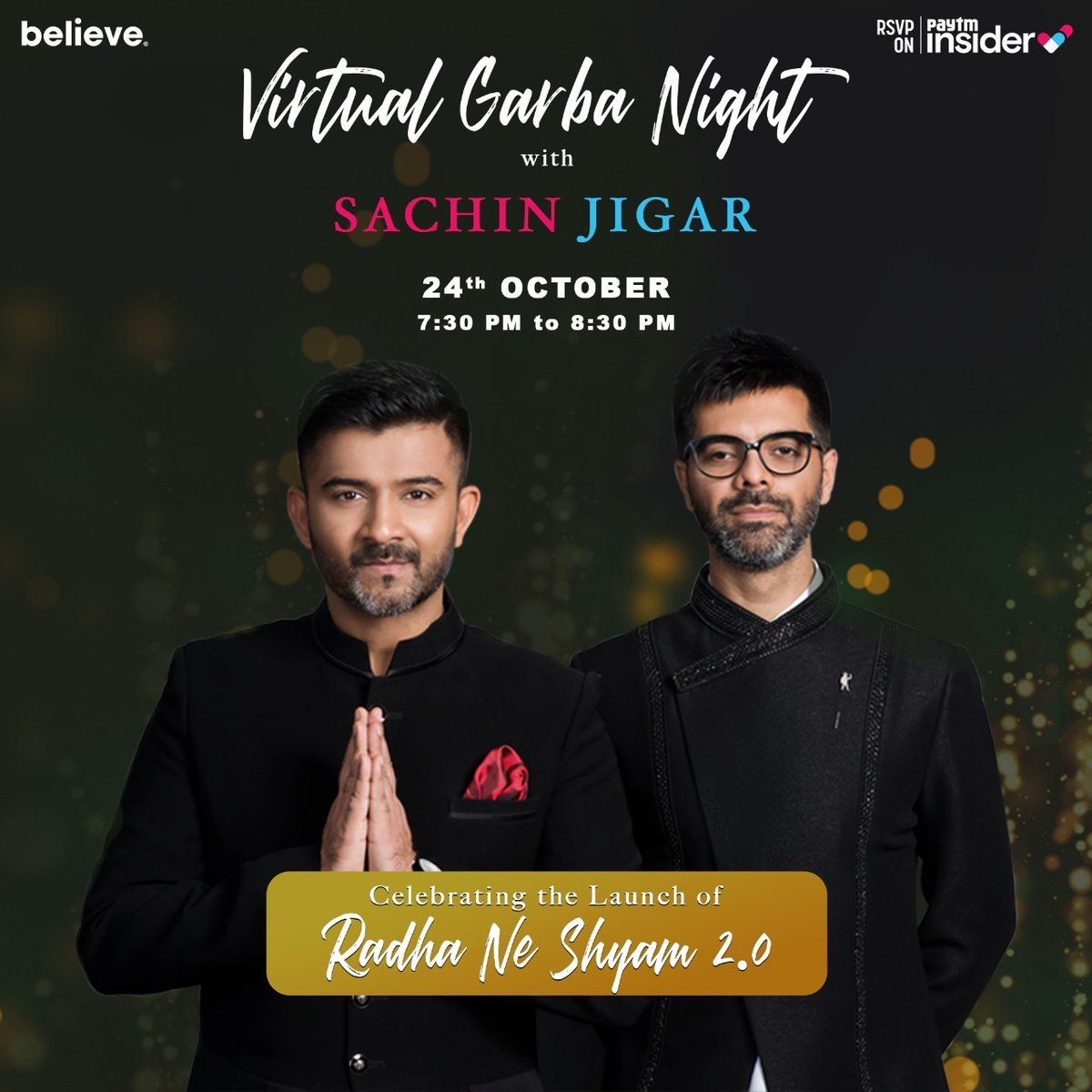 In celebration of their latest release #RadhaneShyam 2.0, @SachinJigarLive are bringing you a #Virtual #Garba concert to dance away the lockdown blues. All you have to do is register for free, tune in and celebrate this day of Navratri with us! Tickets: https://t.co/crqFduve1c https://t.co/HQWOISwPb1