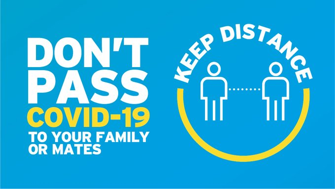 Illustration of two people standing apart from each other: keep distance, don't pass COVID-19 to your family or mates