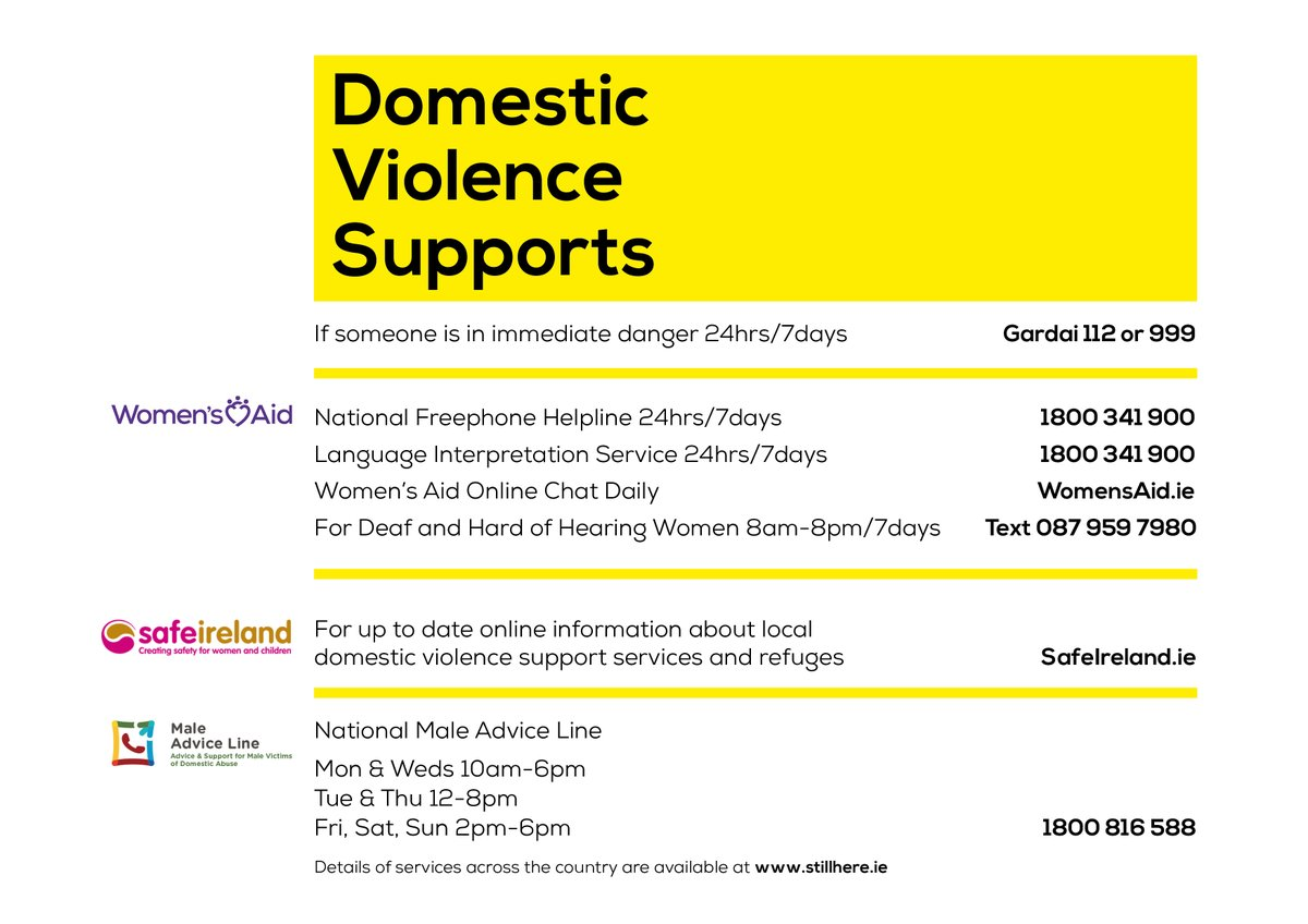 As level 5 restrictions take hold, please share these important contact details for the Women's Aid 24hr National Helpline, links to local one to one and refuges, the @MensNetworkIE National Adviceline. It could save someone's life. Thank you #WhenHomeisNotSafe #Covid19Ireland https://t.co/VE4aUXLjM7
