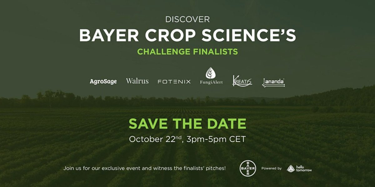 🔴 We are LIVE from Lyon with @Bayer4Crops! 🔴 Join us now to watch pitches from our finalists @AnandaDevices, @KREATiS_models, @FOTENIX, Agrosage, Walrus & @AlertFungi, & discover how #deeptech is contributing to more sustainable #agriculture! Head here👉https://t.co/ZTyt0CZ2wv https://t.co/cO6px1DlqX