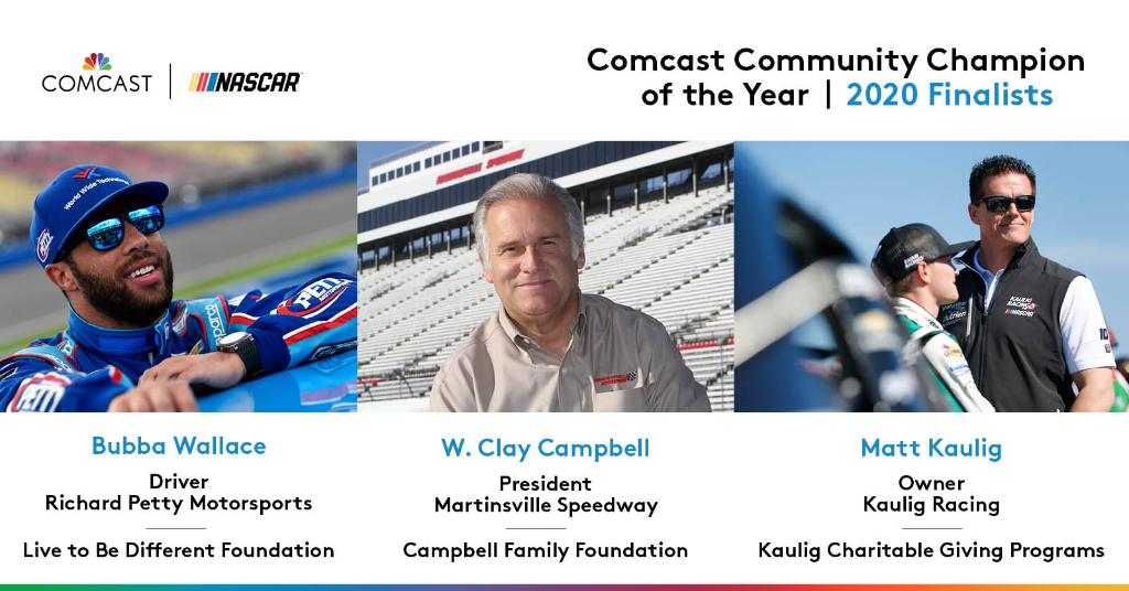 Continuing to uplift others away from the NASCAR garage. @MartinsvilleSwy president Clay Campbell, @MattKaulig, & @BubbaWallace are the 2020 #ComcastCommunityChamp finalists. Learn more about their stories in the sixth year of this award: nas.cr/37vursn