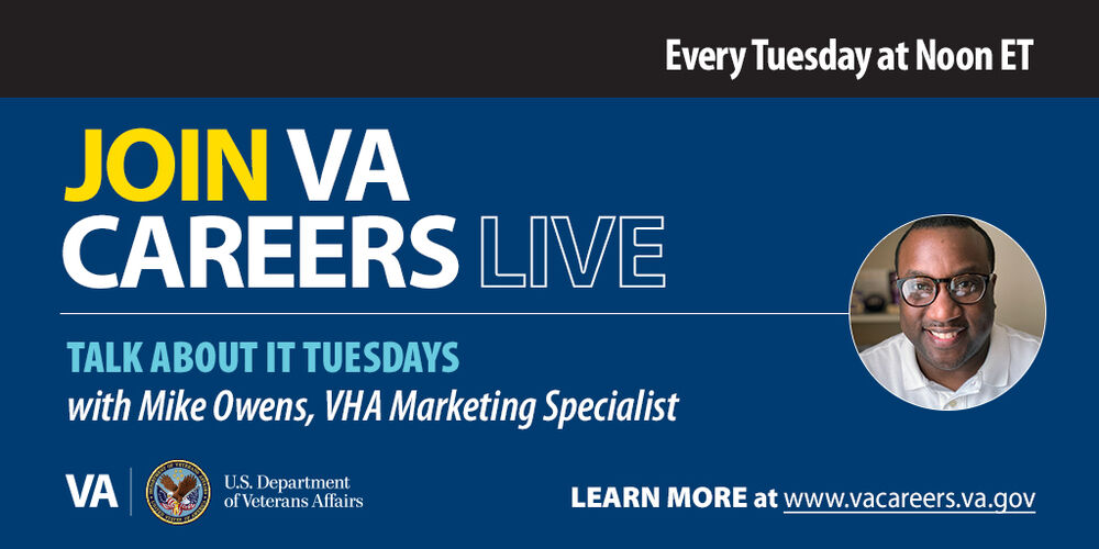 On Tuesday, October 27th, join @VACareers at noon ET on @LinkedIn for our #TalkAboutItTuesday series with Mike Owens to chat about what it's like to #WorkAtVA. #LearnMore about this series: https://t.co/15KcrsBN2l https://t.co/H5UpTNR6sd