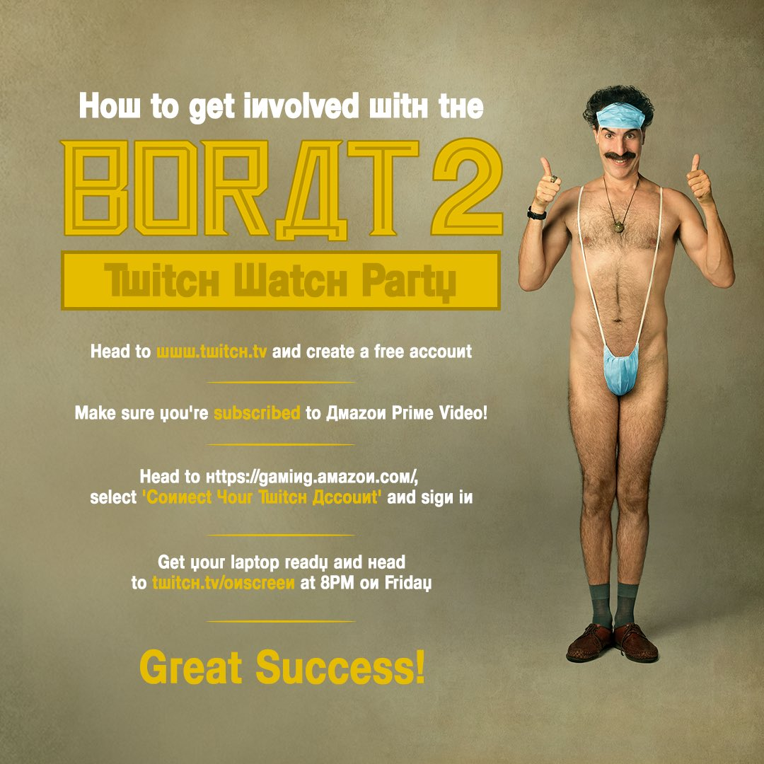 #BORAT is back in America and we all wanna see if you-know-who was really just tucking his shirt in. Be part of tomorrow's watch party at 8pm! @iaindoesjokes @onscreenlol @primevideoUK #ad twitch.tv/onscreen
