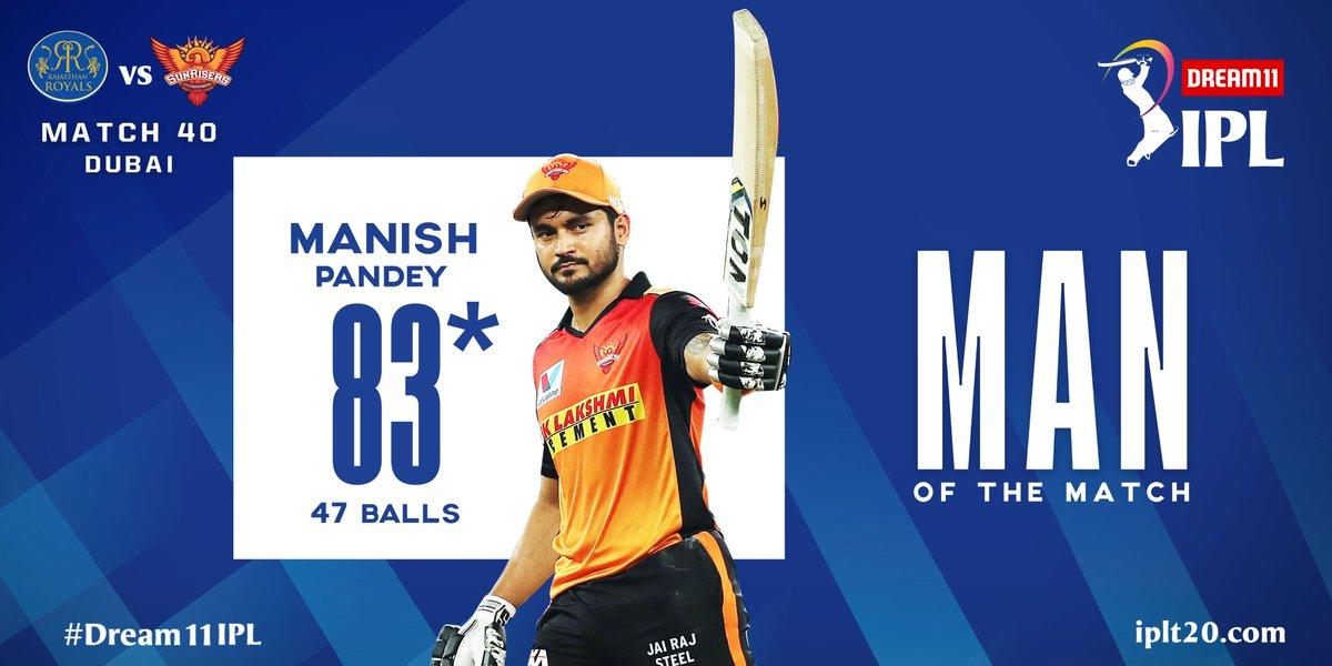 A well deserved Man of the Match award for @im_manishpandey for his match-winning knock of 83*.  #Dream11IPL https://t.co/O8kznbEjy7