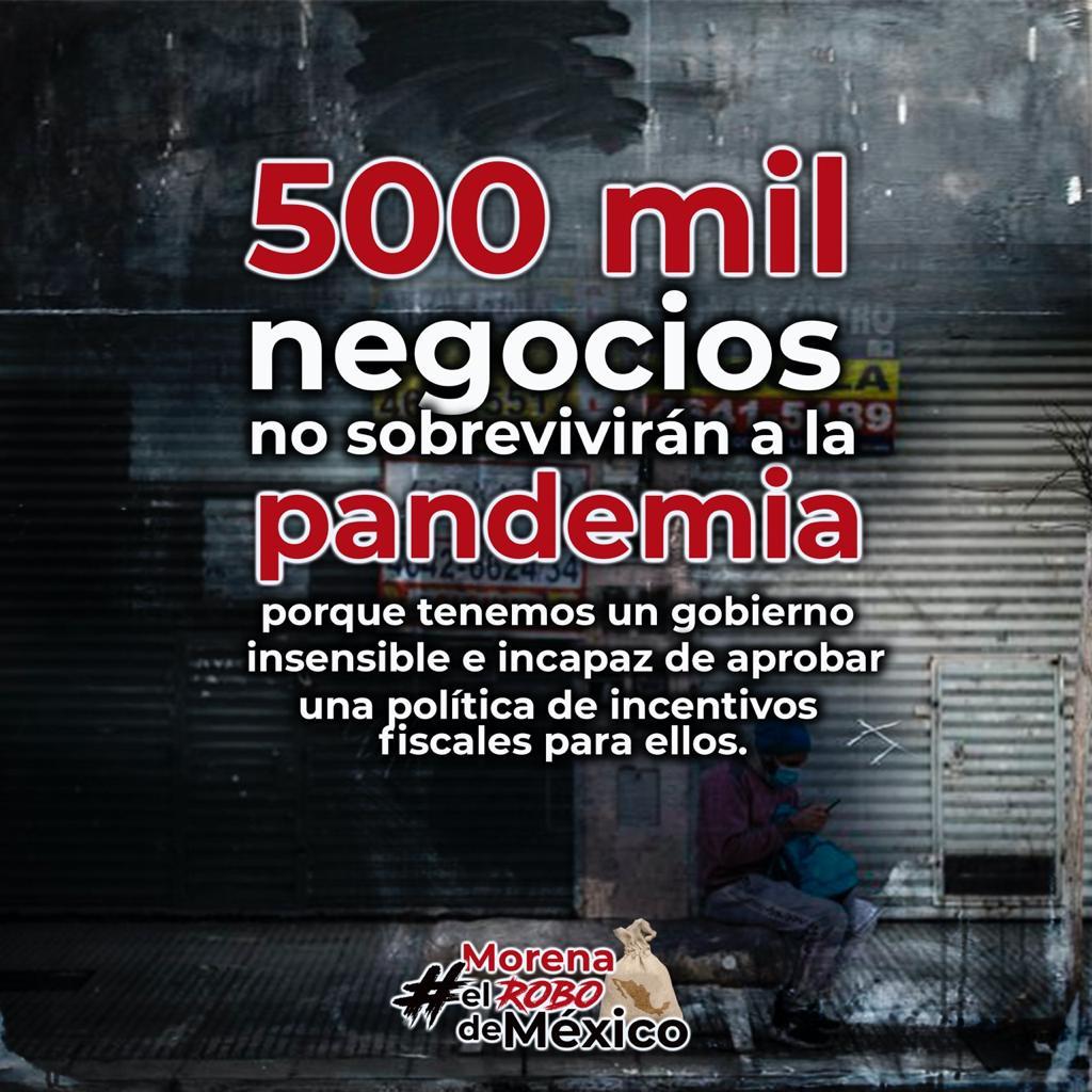 En esta crisis por la pandemia, los empresarios mexicanos necesitaban incentivos fiscales que les permitieran reactivarse, sin embargo, MORENA aprobó una Ley de Ingresos que no contempla ningún plan de reactivación económica que ayude a estos negocios. #MorenaElRoboDeMéxico https://t.co/9hJYgE1QhV