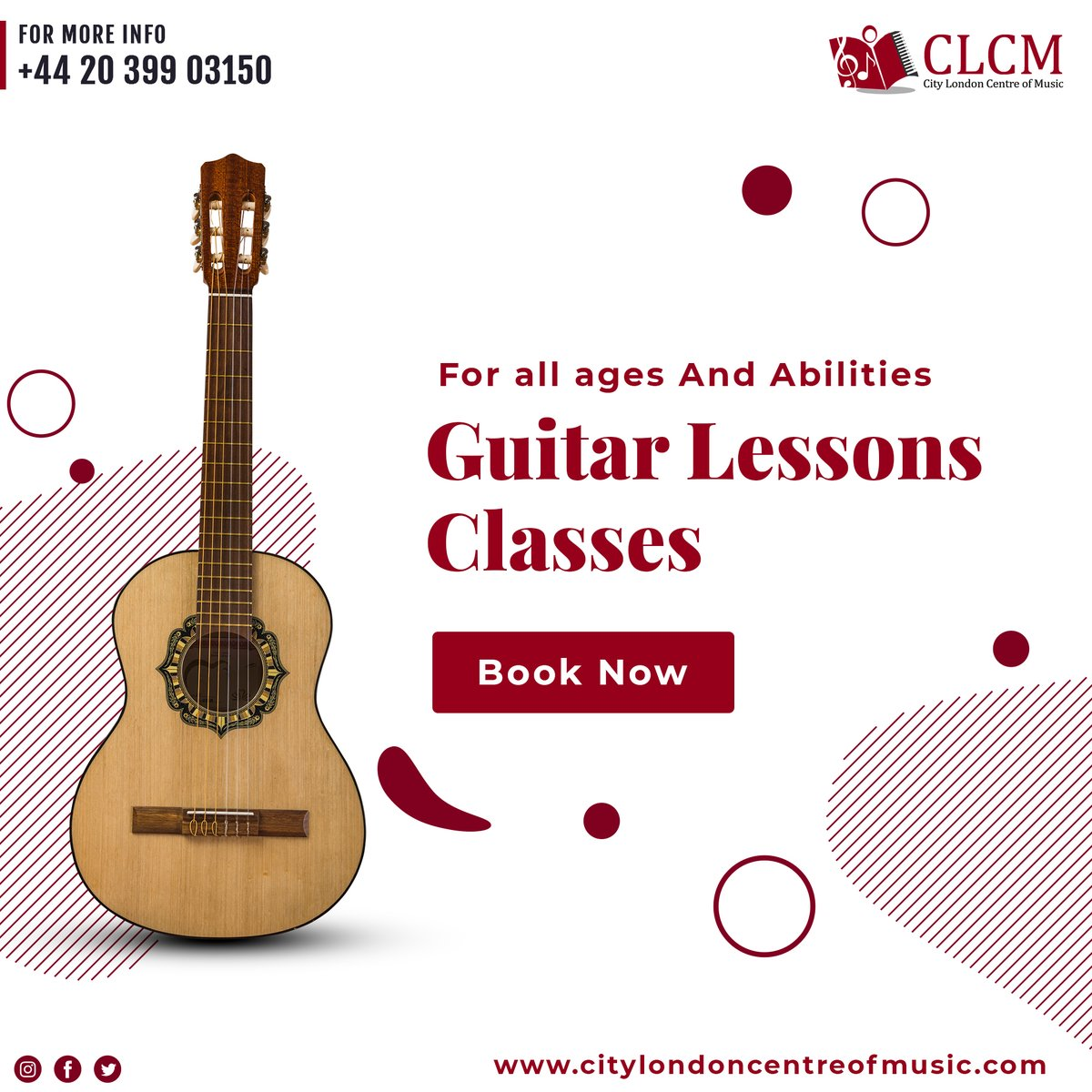 For all ages and abilities Guitar Lessons in London.  Book your Class Now at https://t.co/GUkqTRorpI  #clcm #CityLondonCentreOfMusic #UK #musicteacher #musicschool #PianoLessons #ViolinLesson #SingingLessons #london #onlinelessons #StayHomeStaySafe #GuitarLessons #Battersea https://t.co/CiULDFevyy