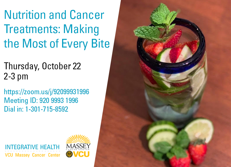 Join us today at 2 pm as Massey registered dietitian Allie Farley discusses maintaining good nutrition during cancer treatment. Watch at https://t.co/gjp6fKuUd7 or call 1-301-715-8592 and use meeting ID 920 9993 1996. https://t.co/5qqhjgao3V