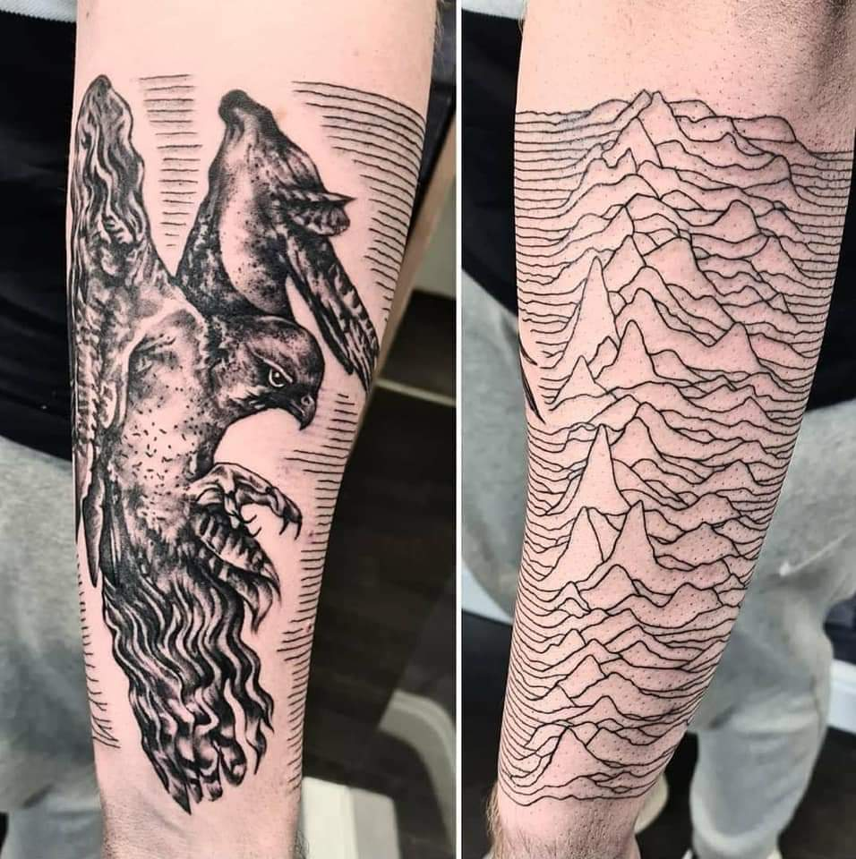 New Falcon/Unknown pleasures ink! First of probably many😬 @m00resy @What_Liam_Said @mikecambo1 @joejrcross @peterhook #courteeners #falcon #tattoo #joydivision https://t.co/UzDo1TlTXd