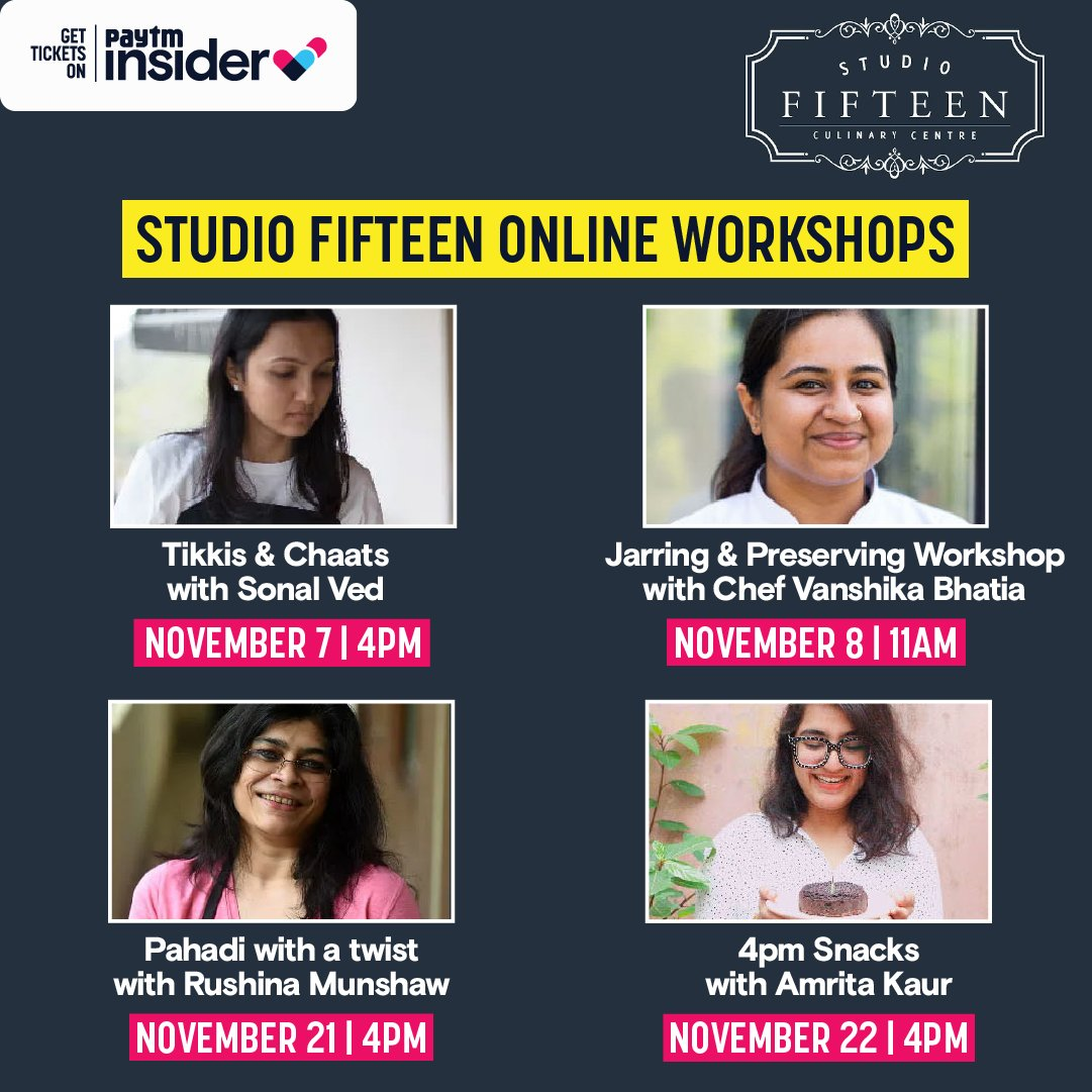 Put on your chef's hat and get ready to take your culinary skills to the next level! #StudioFifteen has a whole list of workshops spanning numerous cuisines and recipes that you can attend from home. Check them out: https://t.co/U6cBedpBkx https://t.co/J3ETHvNFQL